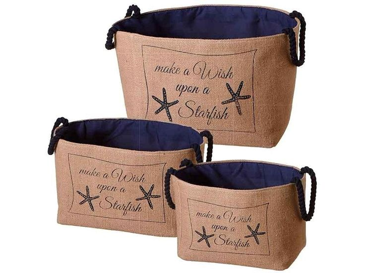 Make A Wish Upon A Starfish - Nested Jute Storage Bins - Set of 3