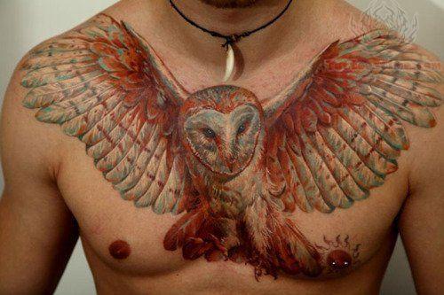 Black And White Owl Tattoo Chest Owl men chest tattoo