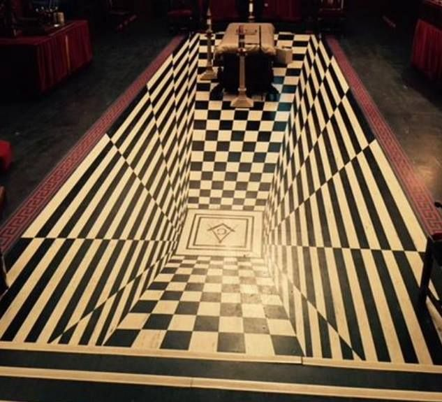"This picture was taken from the Worshipful Master's chair at Weymouth Masonic Hall. John Pearce, Secretary of All Souls tells us....   ""The Lodge was redecorated in 1967 in preparation for the Bi-Centenary Celebrations."