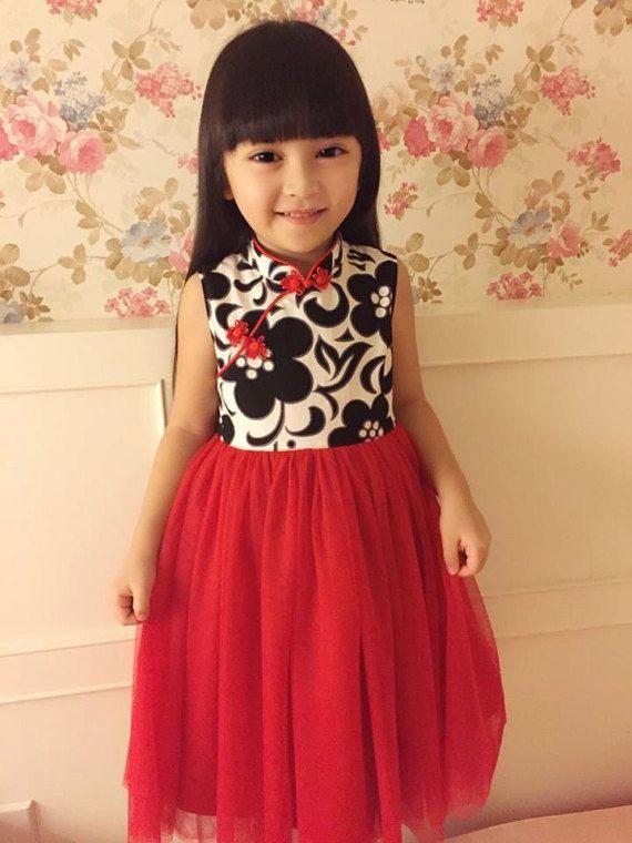 ragazza cheongsam stile tutu vestito fatto a mano rosso/nero