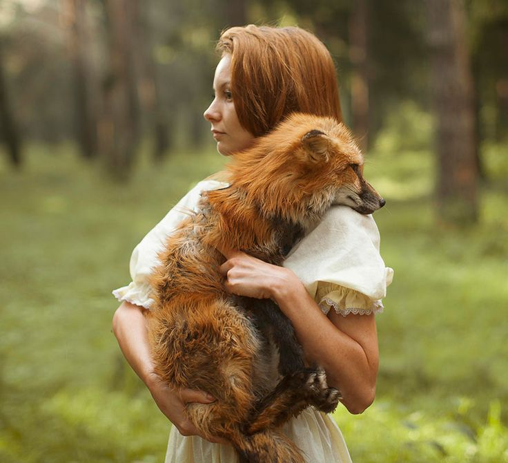What you're about to see is not Photoshop – Moscow-based Russian photographer Katerina Plotnikova created these stunning images with the help of real live animals! / red head / girl holding her fox
