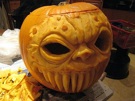 scary Halloween pumpkin sculpt