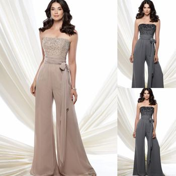 Nice Strapless Long Beaded Sleeveless Sash And Tie Mother Of The Bride Trouser Suit Women Pant Suit