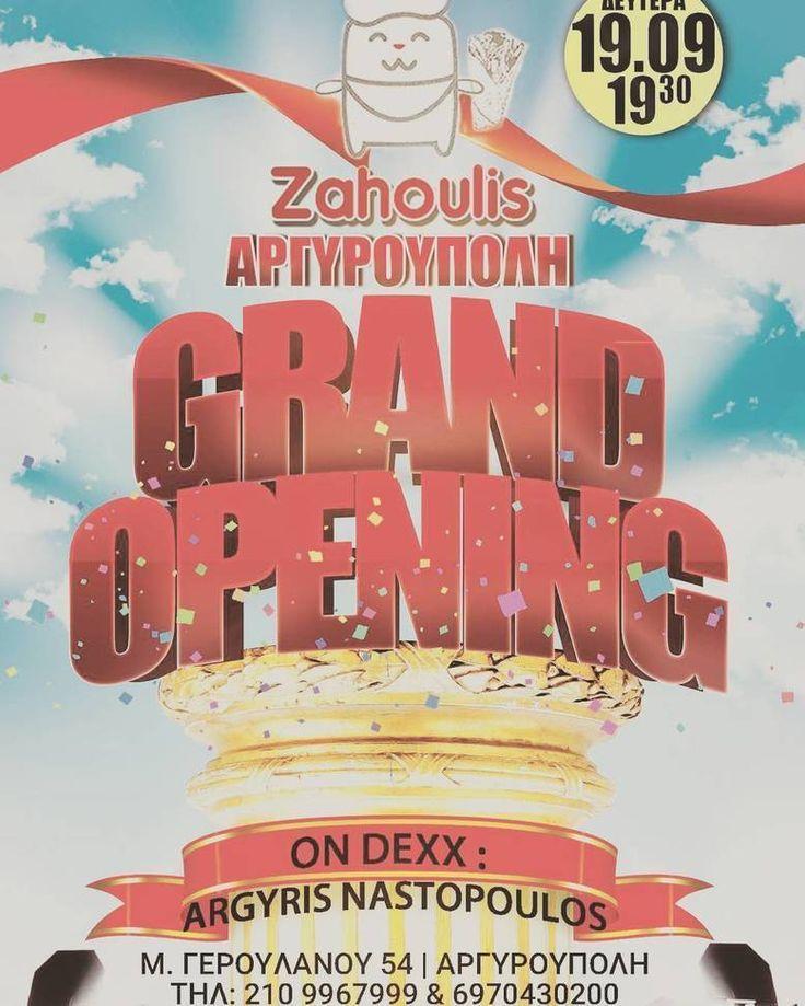 Σήμερα σας περιμένουμε στις 19:30 στην Αργυρούπολη στο νέο μας κατάστημα (Μ. Γερουλάνου 54) να γίνει χαμός!! Μην το χάσετε! Grand opening - Φαγητό - Ποτό - Happenings #argyroupoli #zahoulis #zahoulisglyfada #zahoulisathens #zahoulis #souvlaki #argyrisnastopoulos #keyevents #argyroupolis