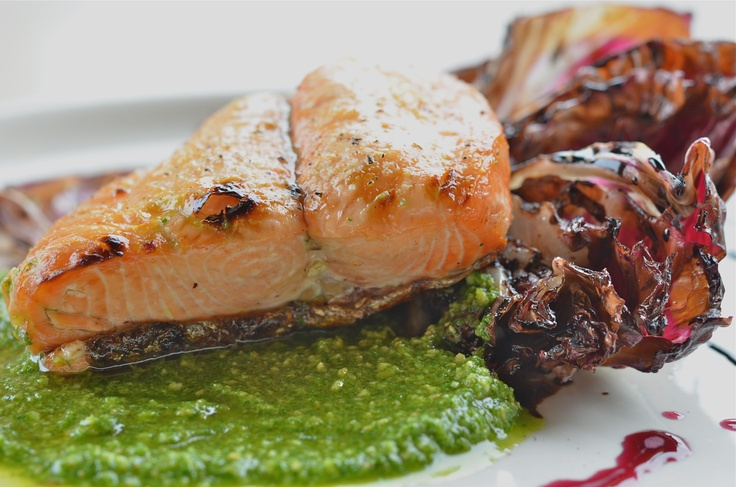 Fresh Wild Caught Alaskan King Salmon with Grilled Radicchio Drizzled ...