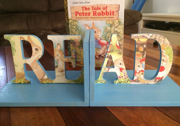 Peter Rabbit inspired book ends for a 1 year old's birthday present. Such a pleasure to make something special for a little man cave :)... And he loves reading!  Enquire within if interested in something like this for your child's bedroom or book shelf :)