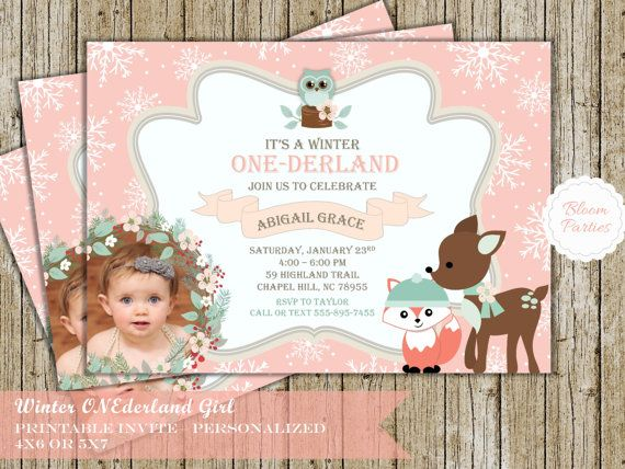 Winter Onederland Invitation Girl Woodland Animals, Fox Deer Owl  Snowflakes First Birthday Party 1st Birthday Digital Printable Invite Pink