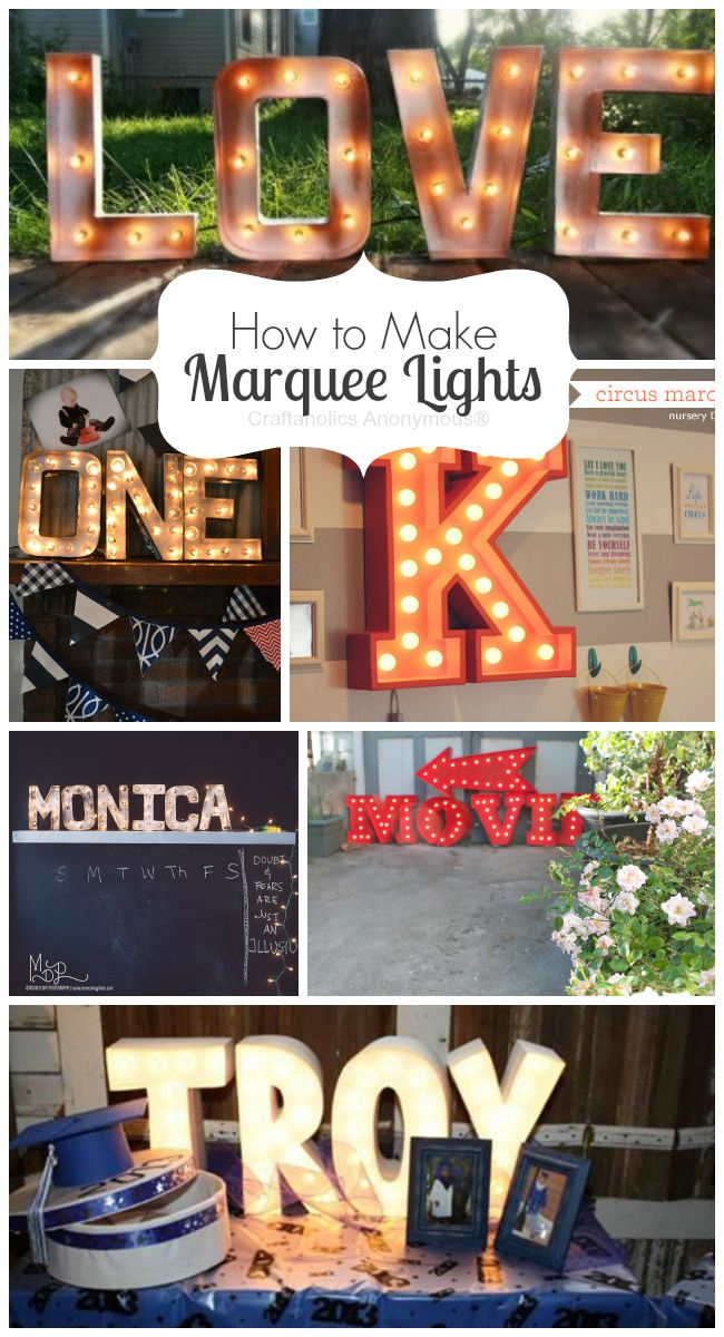 How to Make Marquee Lights. Lots of tips, tricks, and resources for making the perfect marquee sign! #diy #marquee