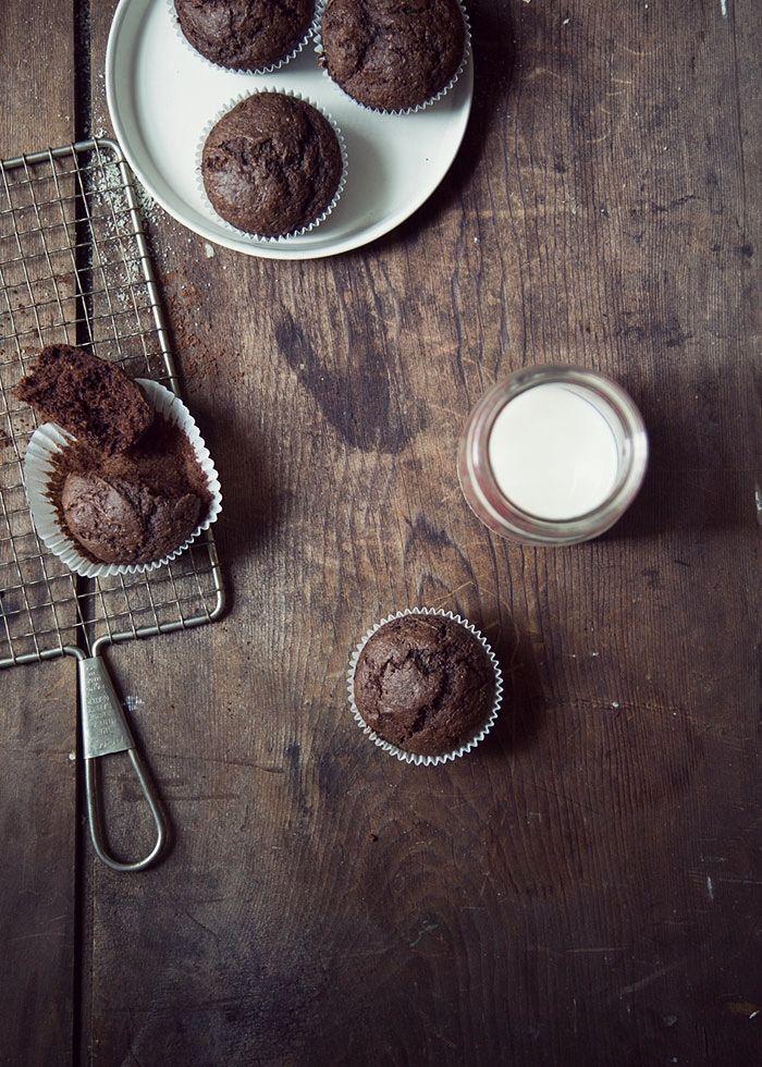 Healthy chocolate and zucchini muffins - Tortine cioccolato e zucchine