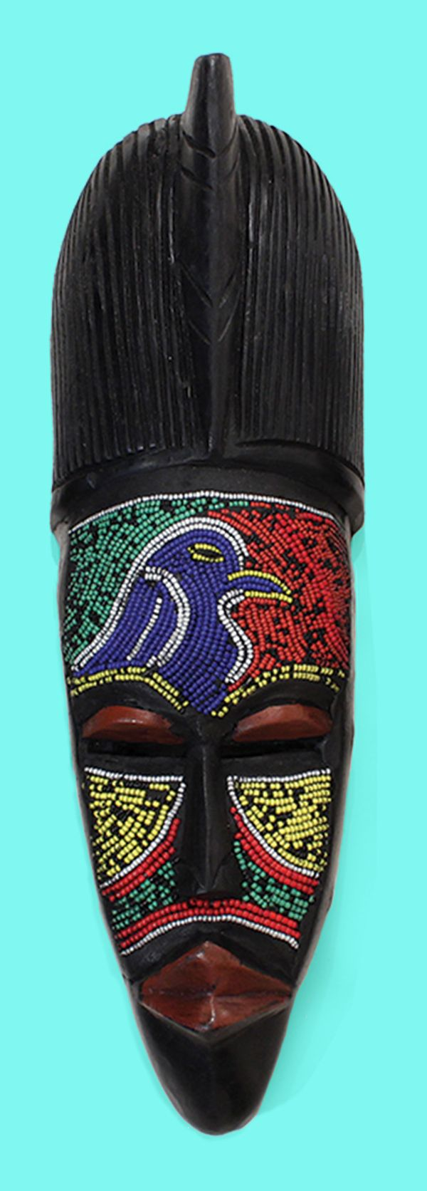 Beaded African Fang Mask - Hand carved and beaded African mask with colored beads and bold African patterns.  Each mask is handmade by African artisans in Ghana.  Colored beads adorn the faces of these traditional African masks.  Celebrate African culture and history with these beautiful African masks.  #homedecor #mask #africa #african #pattern #bold #beads #carving #art #wallart #blackhistorymonth