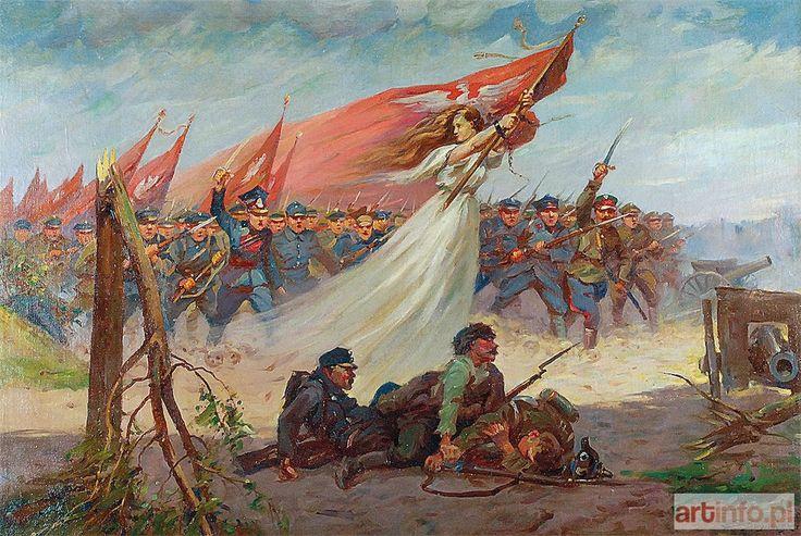 Stanisław BAGIEŃSKI ● Polonia prowadząca do boju, ok. 1920 ● Aukcja ● Artinfo.pl