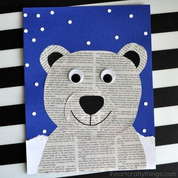 Dieses Zeitungseisbärenhandwerk ist perfekt für ein Winterkinderbastel