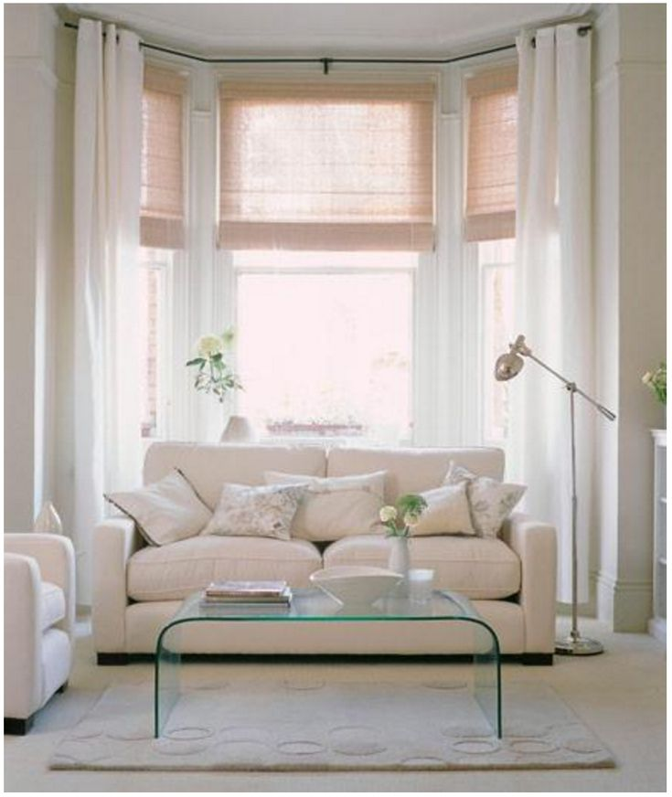 Bay window window dressing with waterfall coffee table Window treatments for bay window in living room