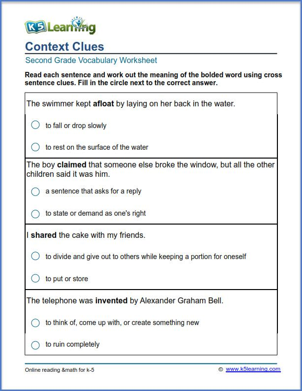 Grade 2 vocabulary worksheet context clues | reading ...