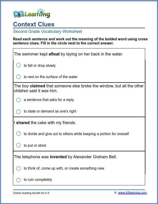 Grade 2 Vocabulary Worksheet Context Clues