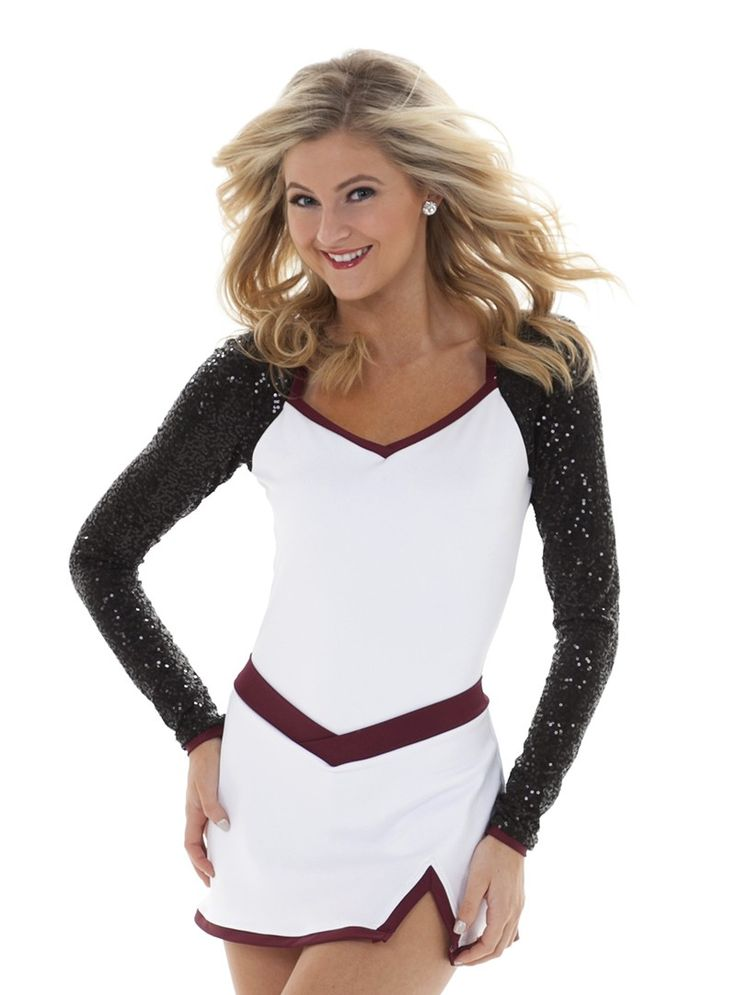 Flattering long sleeve sparkly dance team uniform dress with low back. Change to any color!