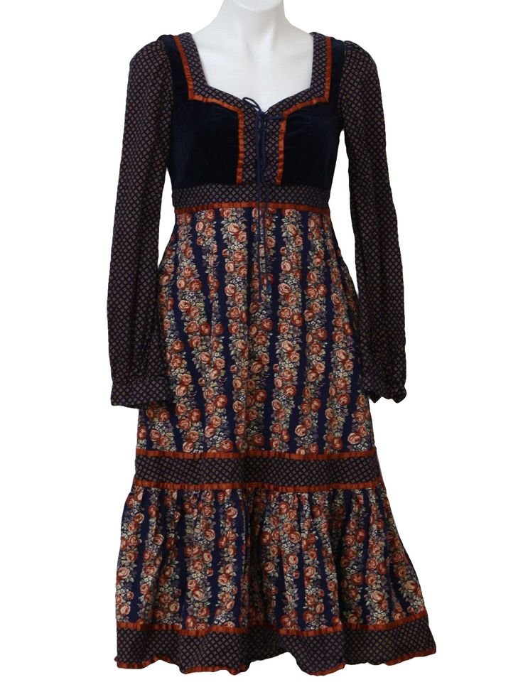 gunny sax patterns | Retro 1970's Dress (Gunne Sax) : 70s -Gunne Sax- Womens midnight blue ...