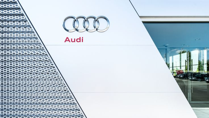 Detail images of the exterior architecture of the Audi Dealership in London Ontario by atrr. Photography by Scott Webb