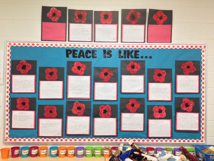 Remembrance Day writing and bulletin board