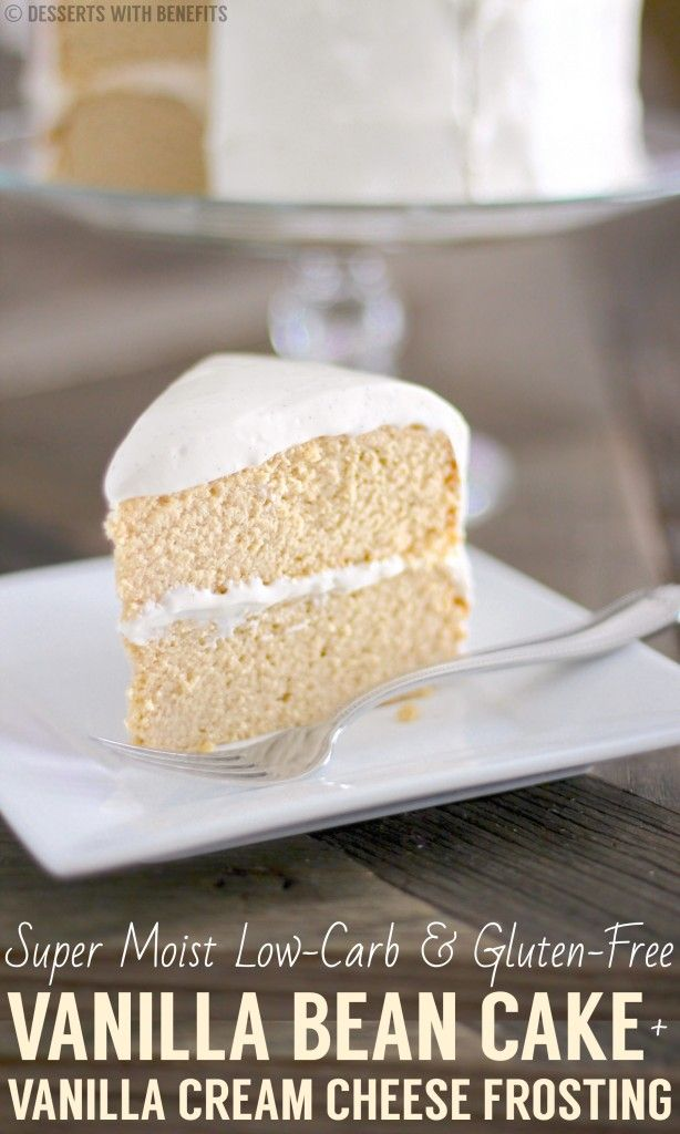 Super Moist Gluten-Free Vanilla Cake with Vanilla Bean Cream Cheese Frosting! And it's healthy?? YUP! [sugar free, low fat, low carb, high fiber, high protein, gluten free]