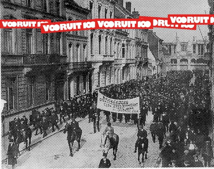 """In 1913, het jaar dat de wereldtentoonstelling Gent aandeed, trok de socialistische beweging het Feestlokaal van Vooruit op. Het moest een """"opera voor de werkmens"""" worden, die de arbeiders een café, een restaurant, verstrooiing en ontplooiing bood: """"Kunst veredelt!"""".    Vanaf mei 2013 zal de programmatie volledig in het teken staan van het eeuwfeest van Vooruit. Naast de historische tentoonstelling in het STAM, zullen er ook in Vooruit en in de stad verschillende activiteiten te beleven…"""