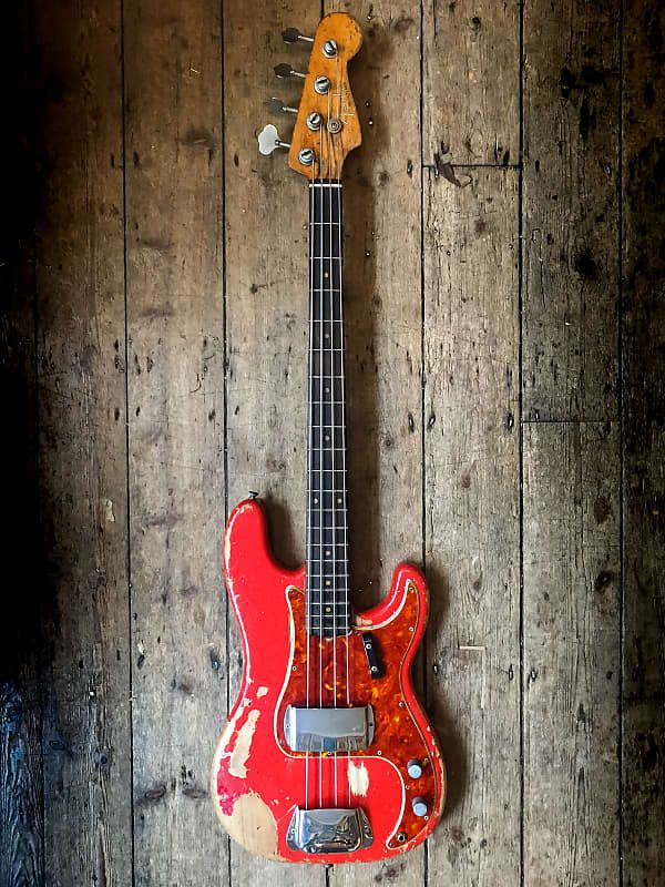 1961 Fender Precision Bass In Fiesta Red Finish With Original Hard Shell Case New Kings Road Vintage Guitar Emporium Reverb Fender Precision Bass The Originals Guitar
