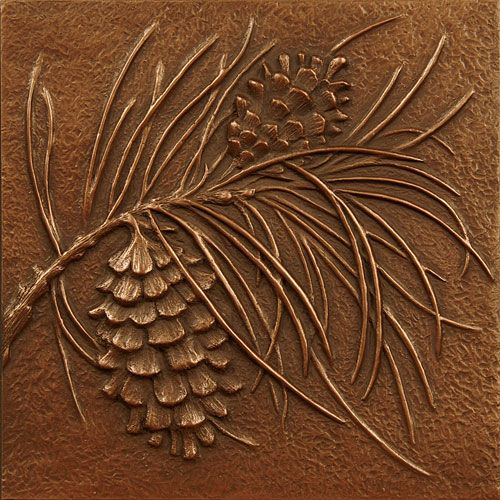 回  Tile o Phile  回   Pine Cone (Decorative Wall Tiles): Cold Cast Copper