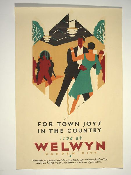 For Town Joys In The Country live in Welwyn Garden City. Colour lithograph poster promoting the new garden city and the sale of real estate/housing property therein by the citys estate office and the estate agents Knight, Frank & Rutley. Lettered within the design, Eric Fraser.