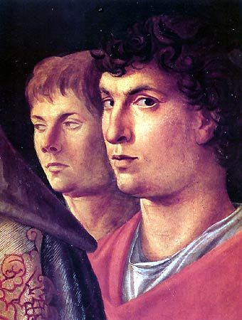 Giovanni Bellini and Andrea Mantegna  painted by Mantegna