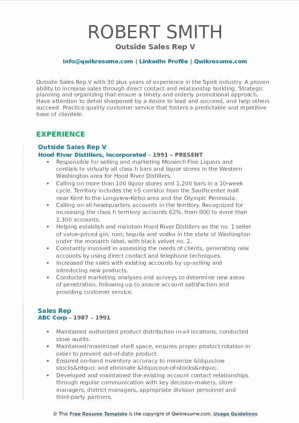 50 Elegant Outside Sales Rep Resume In 2020 With Images Marketing Resume Sales Resume Sales Resume Examples