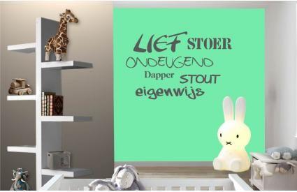 Lief, Stoer, Ondeugend, Dapper, Stout, Eigenwijs... een korte omschrijving van jouw kleine boef! Leuk voor aan de muur!