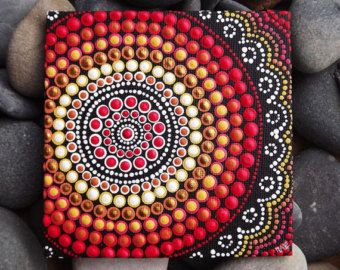 "Punto pintura, Fire Design, Biripi artista Raechel Saunders, 4 ""x 4"" arte de la lona tablero, pintura aborigen australiana de acrílico, Biripi"