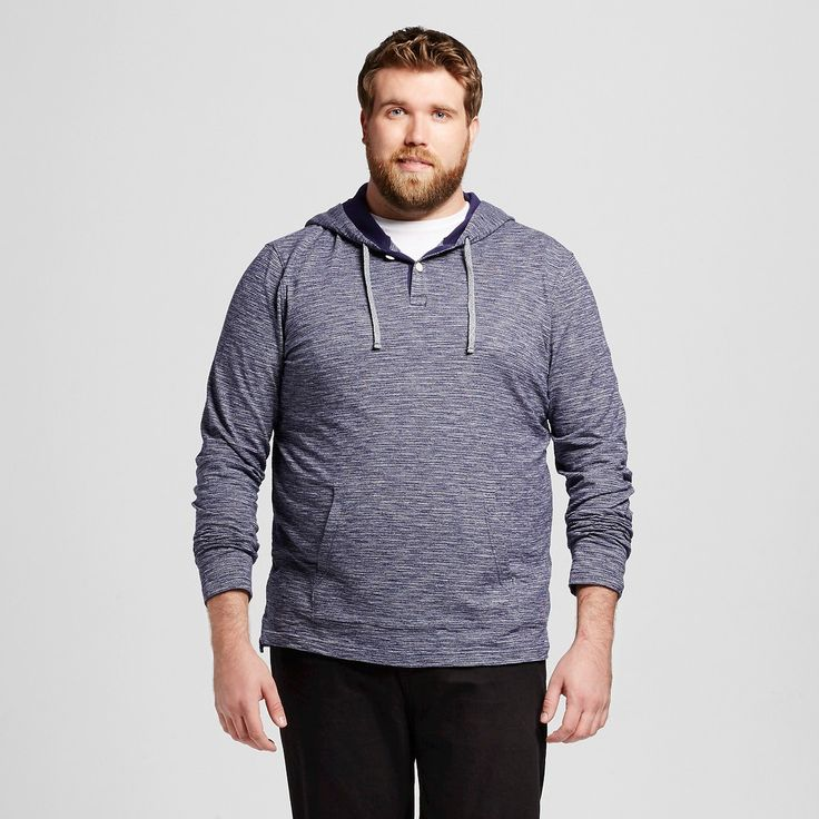 Men's Big & Tall Hooded Long Sleeve Henley Blue MT - Mossimo Supply Co., Size: M Tall