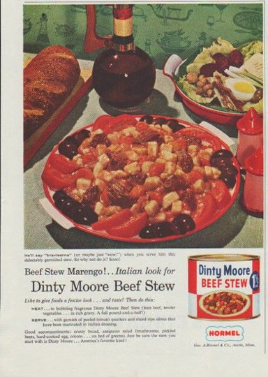 "Description: 1958 DINTY MOORE vintage magazine advertisement ""Beef Stew Marengo"" -- Beef Stew Marengo! .. Italian look for Dinty Moore Beef Stew ... He'll say ""bravissima"" (or maybe just ""wow!"") when you serve him this delectably garnished stew ... Geo. A. Hormel & Co., Austin, Minn. -- Size: The dimensions of the half-page advertisement are approximately 7.75 inches x 11 inches (19.75 cm x 28 cm). Condition: This original vintage half-page advertisement is in Excellent Condition unless ..."