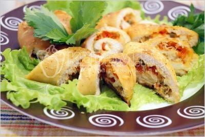 Куриные рулетики с сыром и болгарским перцем - Рецепты. Закуски. Закуски из курицы, птицы