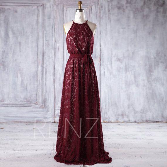 Wine Lace Bridesmaid Dress Long, Halter Wedding Dress with Belt, A Line Evening Gown, Women Formal Dress Full Length (LL225)