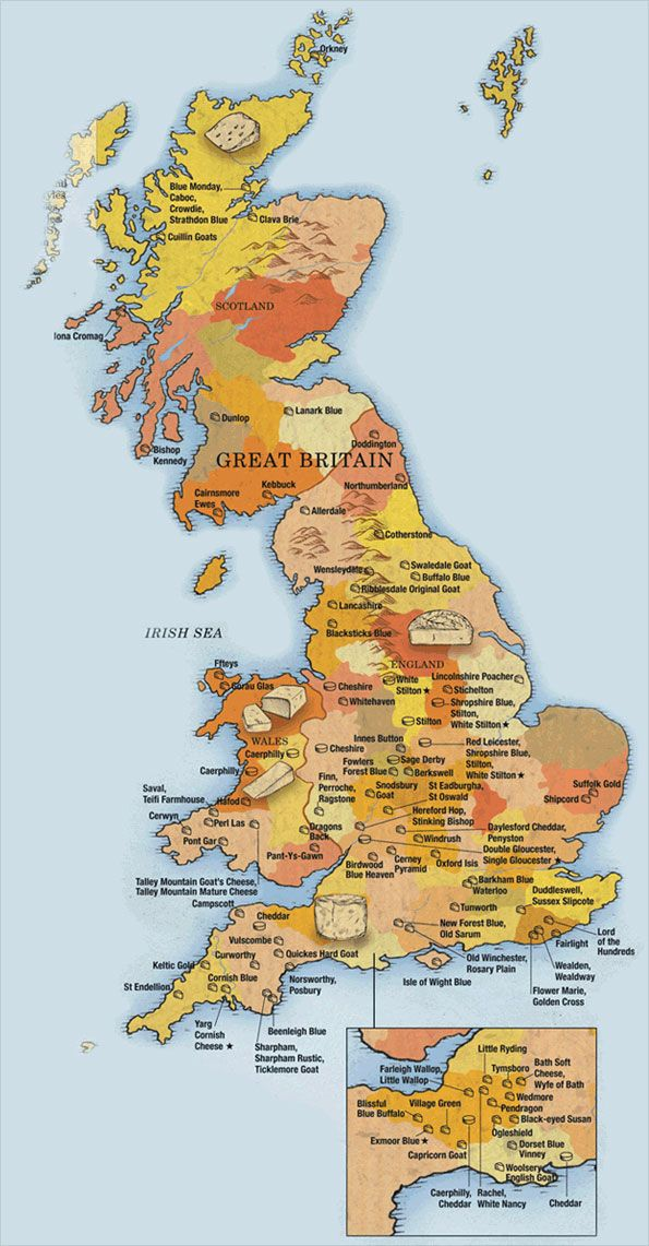 """Cheese map of Britain from Juliet Harbutt's """"The World Cheese Book"""""""