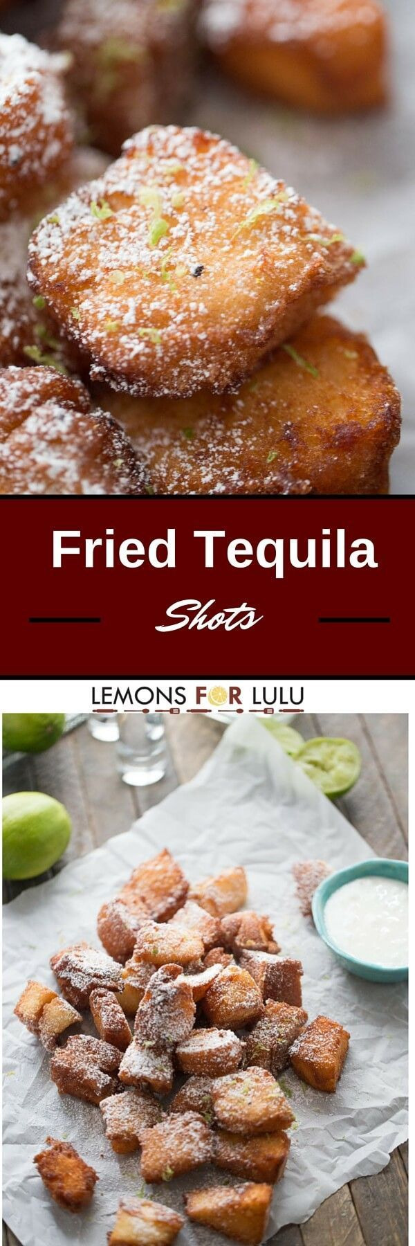 Angel food is cake is dipped in  tequila and then fried just until golden.  These fried tequila shots  are served with fresh lime zest, powdered sugar and a creamy lime dipping sauce; the party just got better!
