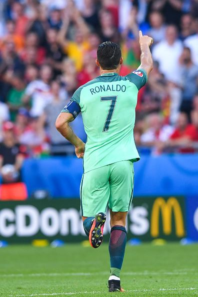 #EURO2016 Cristiano RONALDO of Portugal celebrates scoring his goal during the UEFA EURO 2016 Group F match between Hungary and Portugal at Stade des Lumieres...