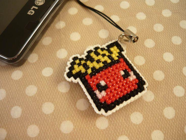 Cross stitch phone charm, gift for teens, cute keychain, kawaii charm, cute phone dangle, Cute Bag Charm, Dust Plug, Earphone Plug by MariAnnieArt on Etsy