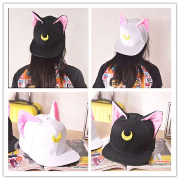 Harajuku Sailor Moon Luna & Artemis Cat Ear Hats Baseball Cap 2 colors hats
