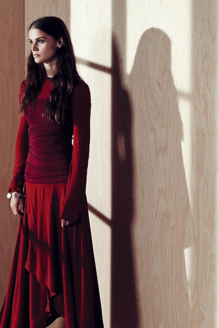 Actress Lisa Tomaschewsky wearing LOEWE's FW16 womenswear collection for Harper's Bazaar Germany.