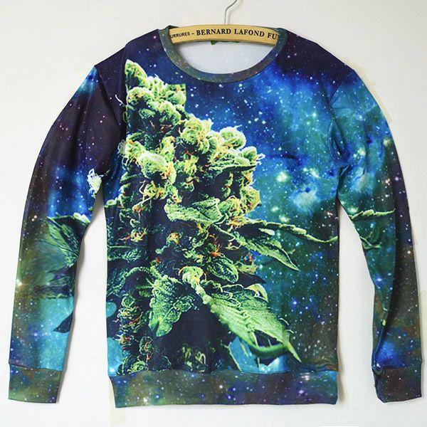 trui voor herfst en winter met een aparte print erop van een top van een wietplant met aparte kleuren