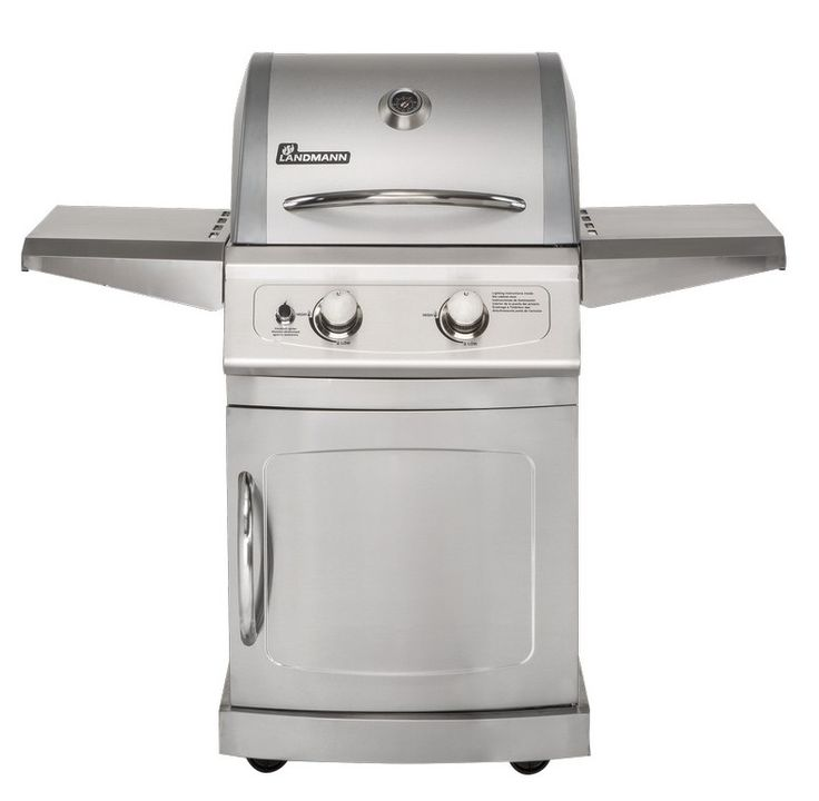 Landmann Falcon Liquid Propane Gas Grills with 2 Burners, 304 Stainless Steel Material, Cooking Grates, Fixed Casters and Folding Steel Side Shelves in Stainless Steel 42204 at appliancesconnection.com. The Falcon Liquid Propane Gas Grills features lid construction with stainless steel insert and double wall with aluminized steel inner liner and stainless steel handle. #grills #grillheads #grillmonster #class