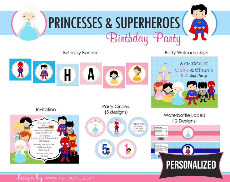Princesses Superheroes Birthday Party Package PRINTABLE - Famous Princess & Superhero Boy Girl / Twin / Joint DIY PERSONALIZED by CallaChic on Etsy https://www.etsy.com/listing/225769408/princesses-superheroes-birthday-party