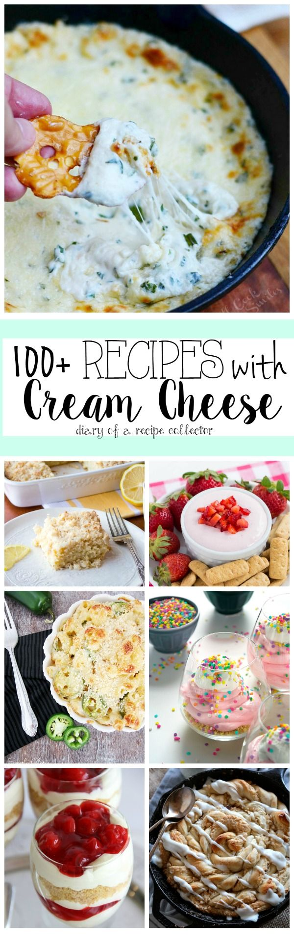 Cream cheese is quite possibly one of the most versatile ingredients in the kitchen.  From sweet to savory to dips, pasta dishes, and sweets, it can do it all.  Have fun browsing through these awesome recipes for some cream cheese inspiration! An InLinkz Link-up