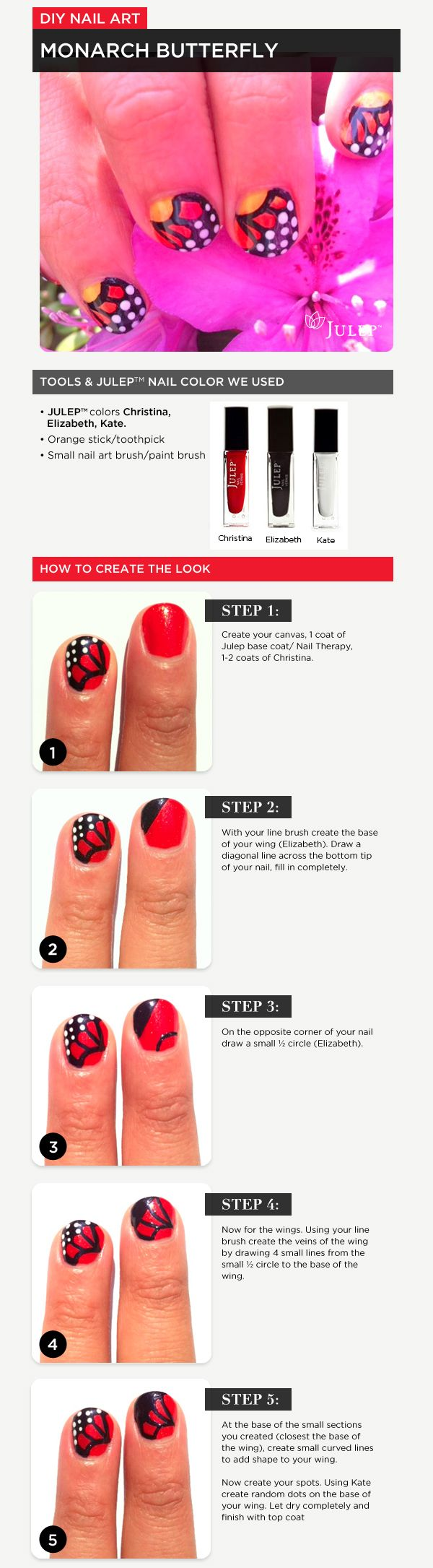 Paint a monarch butterfly on your fingernails.