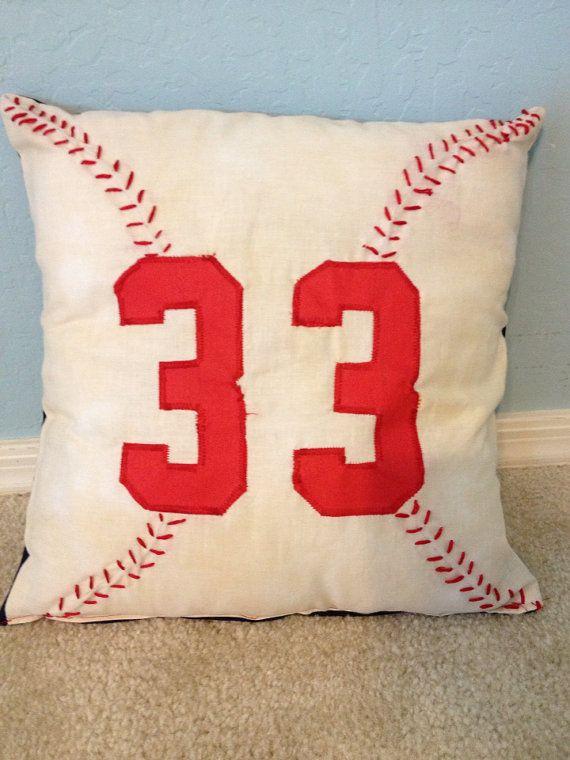 Baseball pillow by MommaMiyaHandmade on Etsy, $25.00
