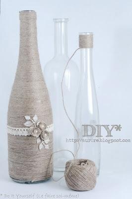Wine bottle wrapped in string