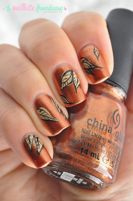 Fall Nail Art Leaves #fall #nails #fallnails